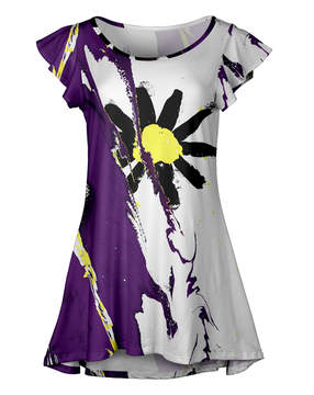 Lily Purple Abstract Floral Ruffle-Sleeve Tunic - Women & Plus