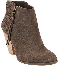 Sole Society Suede Woven Detail Ankle Boots - Zada