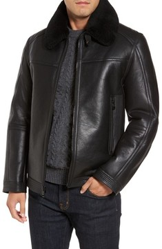 Andrew Marc Men's Leather Jacket With Genuine Shearling Collar