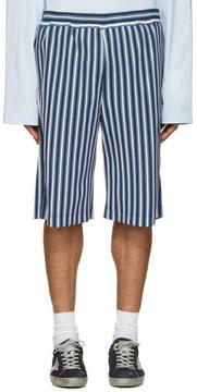 MSGM Blue Striped Shorts