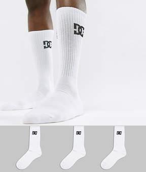 DC 3PK Logo Socks In White