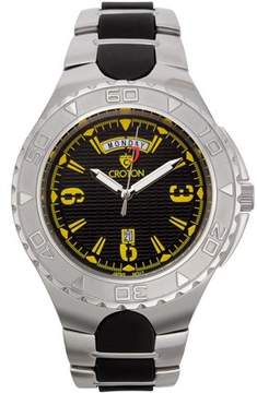 Croton Men's Super C Quartz Watch with Black Dial & Yellow Markers and Stainless & Silicon Bracelet