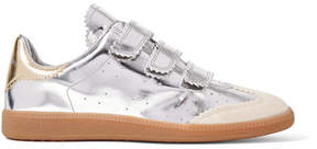 Isabel Marant Beth Suede-trimmed Metallic Leather Sneakers - Silver