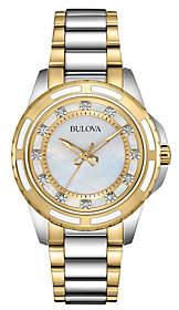 Bulova Women's Diamond Accent Two-tone BraceletWatch