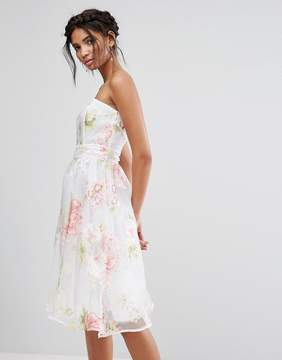 Elise Ryan Bandeau Midi Dress In Floral Organza