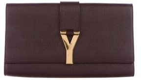 Saint Laurent Leather Chyc Clutch - PURPLE - STYLE