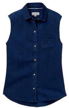 Tractr Sleeveless Button Shirt (Big Girls)
