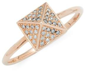 Ef Collection Women's Pyramid Diamond Solitaire Ring