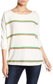 Chaser One Love Lace-Up Knit Striped Sweater