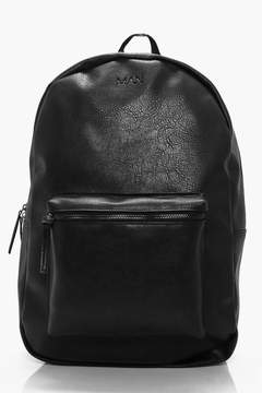 boohoo Black Leather Look Backpack