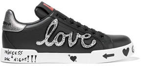 Dolce & Gabbana Appliquéd Printed Leather Sneakers - Black