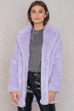 NA-KD Colored Faux Fur Coat
