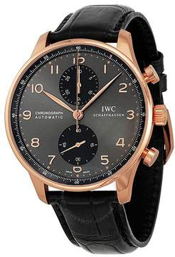 IWC Portuguese Grey Dial Chronograph Rose Gold Leather Automatic Men's Watch