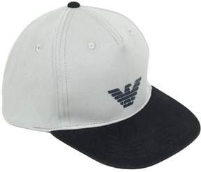 Armani Junior Logo Cotton Canvas Baseball Hat