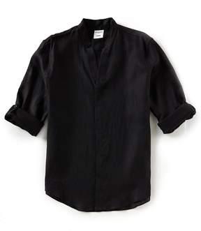 Murano Solid Linen Mandarin Collar Long-Sleeve Woven Shirt