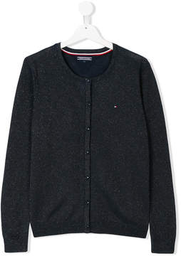 Tommy Hilfiger Junior TEEN metallic crew-neck cardigan