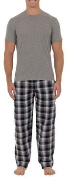 Fruit of the Loom Men's Microsanded Woven Sleep Pant with Jersey Top 2 piece Set
