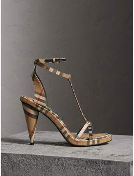 Burberry Vintage Check Cotton High-heel Sandals