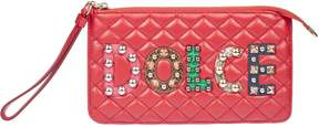 Dolce & Gabbana Studded Quilted Clutch - RED - STYLE