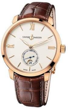 Ulysse Nardin San Marco Classico Ivory Dial 18kt Rose Gold Brown Leather Men's Watch 8276-119-2-31