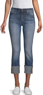 Driftwood Women's Colette Faux Pearl-Embellished Cropped Jeans - Dark Blue, Size 32 (10-12)