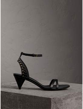 Burberry Riveted Leather Cone-heel Sandals