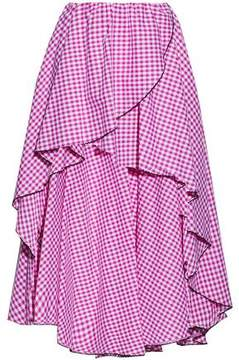 Caroline Constas Asymmetric Wrap-Effect Gingham Cotton-Poplin Skirt