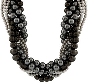 Bella Pearl Multi-Row Peacock and Shell Pearl Braided Necklace