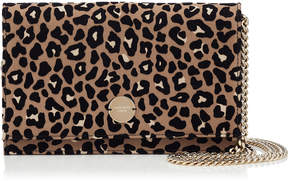 Jimmy Choo FLORENCE Chai Mix Satin Clutch Bag with Flocked Leopard
