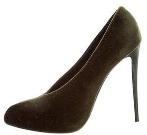 Emporio Armani Velvet Pointed-Toe Pumps