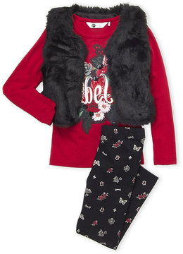 Petit Lem Girls 4-6x) 3-Piece Faux Fur Vest & Christmas Leggings Set