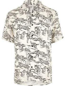 River Island Mens Ecru tiger print short sleeve shirt