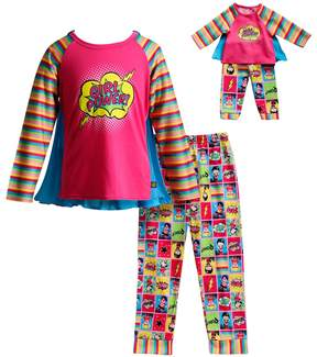 Dollie & Me Girls 4-14 Superhero Top & Bottoms Pajama Set