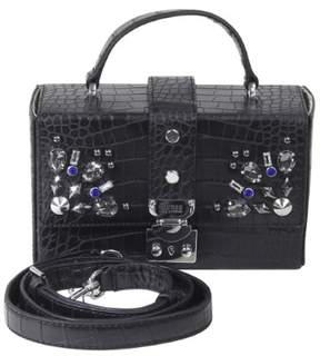 GUESS Women's Britta Black Crocodile Mini Trunk Handbag