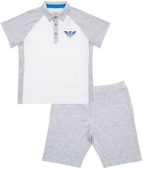Armani Junior Polo Shirt and Jersey Shorts Set