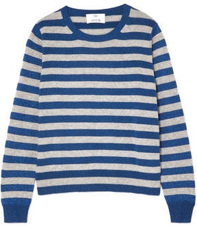 Allude Metallic Striped Wool And Cashmere-blend Sweater - Blue