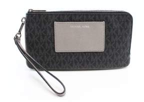 Michael Kors Black Bedford Coated Canvas Double Zip Clutch - BLACKS - STYLE