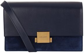 Saint Laurent Bellechasse Suede Panel Satchel - BLUE - STYLE