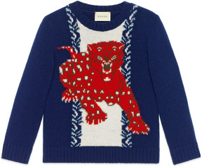 Children's leopard intarsia sweater