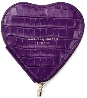 Aspinal of London Heart Coin Purse In Deep Shine Amethyst Small Croc
