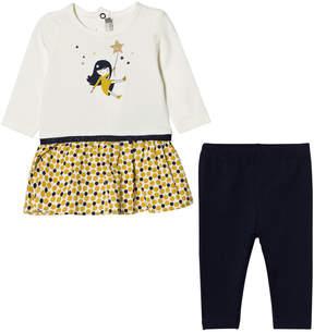 Catimini Cream Star and Girl Print Dress and Leggings Set