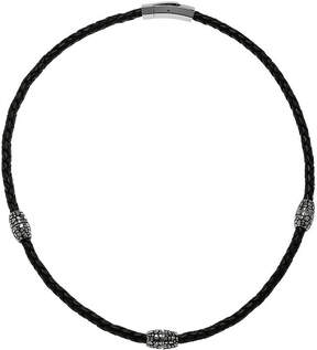 JCPenney FINE JEWELRY Mens Braided Black Leather Stainless Steel Necklace