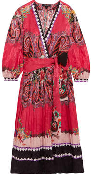 Etro Printed Jacquard Wrap Dress - Pink