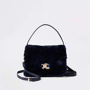 River Island Navy faux fur flap cross body bag