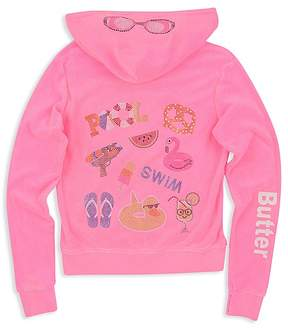 Butter Shoes Girls' Embellished Pool Day Fleece Hoodie - Big Kid