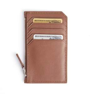 Royce Leather Royce Tan Zippered Credit Card Wallet