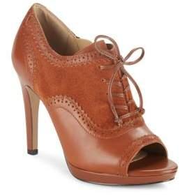 Saks Fifth Avenue Kembra Suede & Leather Peep-Toe Brouge Pumps