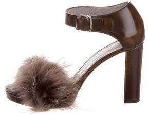 Brunello Cucinelli Fur-Trimmed Leather Sandals