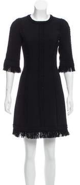 Andrew Gn Fringe Trimmed Wool Dress
