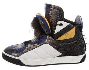 Fendi Python Fur-Trimmed Monster Sneakers